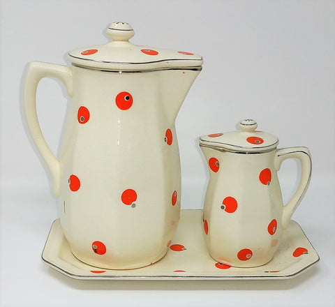 Rare Vintage Platinum Rimmed Made In Japan Pottery Waffle, Syrup Pitcher Breakfast Set