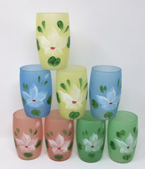 Rare Vintage 1950's Hocking Glass Frosted Gay Fad Tumblers, Set of 8
