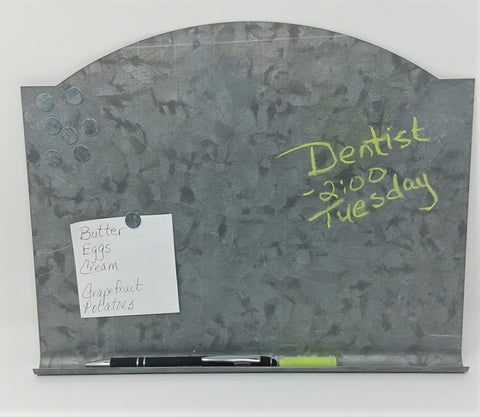 Galvanized Arched Top Memo Chalk Board, Bonus Magnets