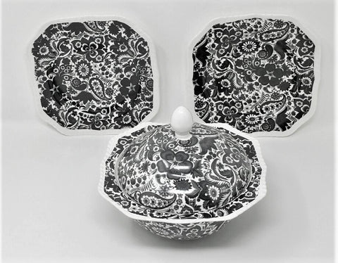 Black Paisley Toile China - Covered Serving Bowl and Two Plates