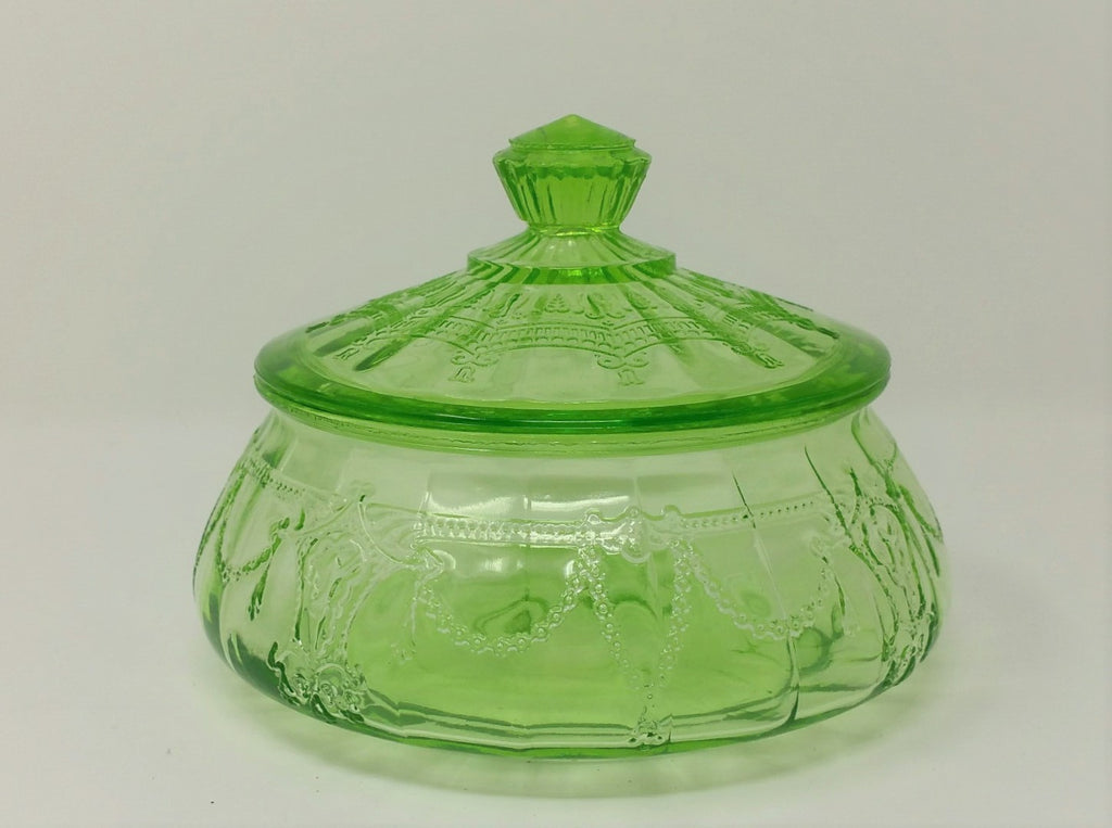 Hocking Glass CAMEO & BALLERINA Green Depression Glass Low Candy Dish with Lid