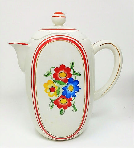 Vintage Unused Art Deco Bright Flowers Ceramic Tea Pot