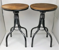 SALE!  Set of Two Adjustable Height Metal & Wood Farmhouse Stools