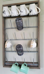 NEW! Custom Framed 18 arm Farmhouse Bottle Dryer Mug Rack