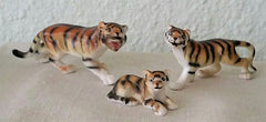 Set of 3 VINTAGE BONE CHINA MINIATURE TIGER Figurines, Made in Japan