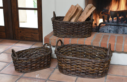 Hand Woven, Heirloom Quality Oval Willow Wicker Baskets