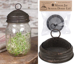 Mason Jar Screened Dome Lid with Ring Top, Set of 2