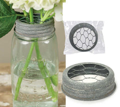 Mason Jar Flower Frog Lids, Chicken Wire Inserts, Set of Two