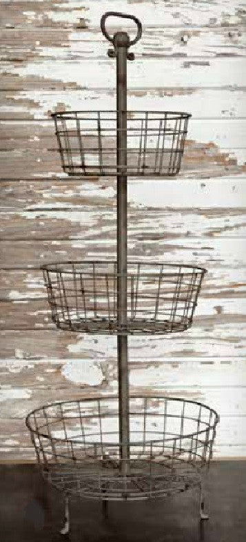 Farmhouse Kitchen Weathered Tin 3-Tier Wire Basket Stand