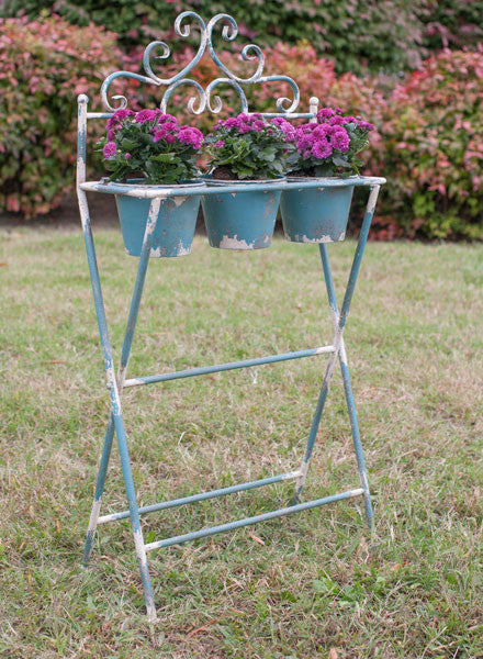 Rustic Blue French Garden Filigree Iron Plant Stand with 3 Pots