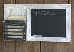 Framed Farmhouse Chalkboard and Metal Pocket Wall Organizer