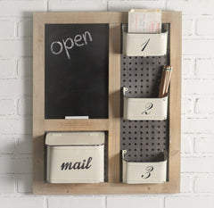 Large Rustic Modern Loft Chalkboard Organizer with Pegboard and 4 Metal Bins