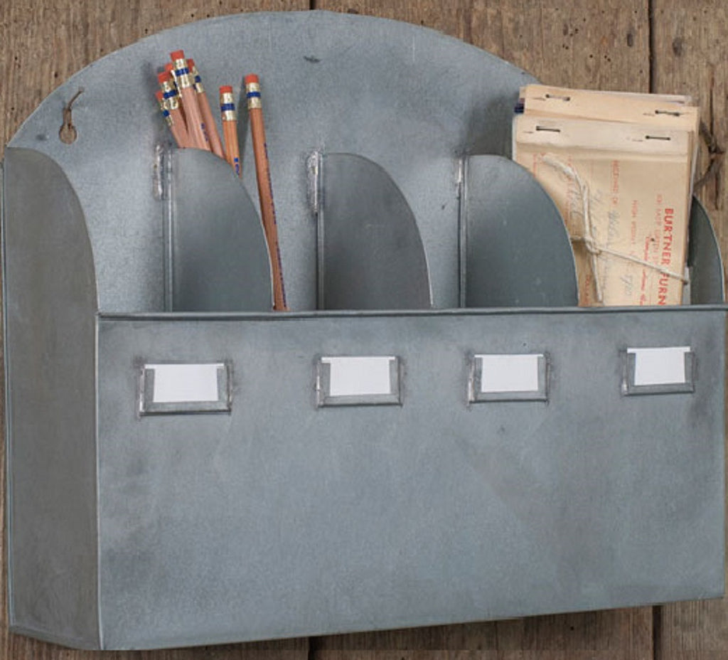 Rustic Industrial Galvanized Arched Top Cubbie Wall or Desk Organizer