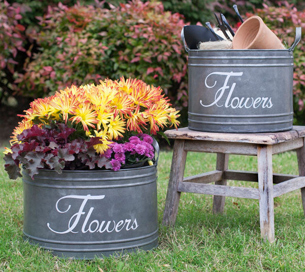 Set of Two Rustic French Garden FLOWERS Galvanized Bins