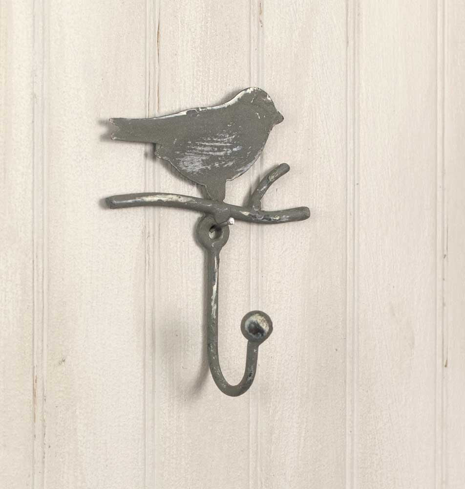 Song Bird on Branch Wall Hook, Set of 2