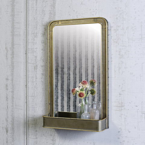 Galvanized Metal Archer Mirror with Shelf