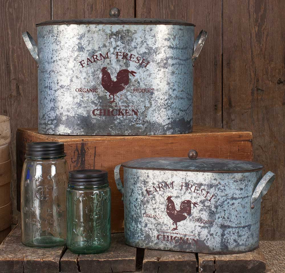 Rustic American Farmhouse Farm Fresh Chicken Bucket Bins, Nesting Set of Two With Lids