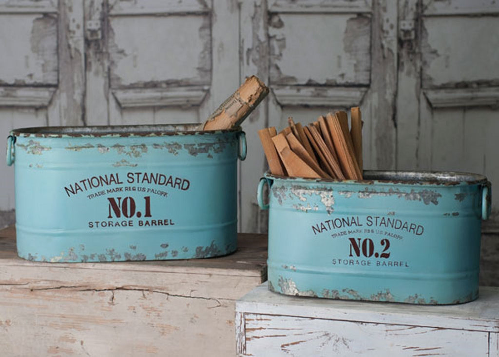 Set/2 Rustic Industrial Oval Aqua National Standard Nos. 1 and 2 Storage Barrel Buckets