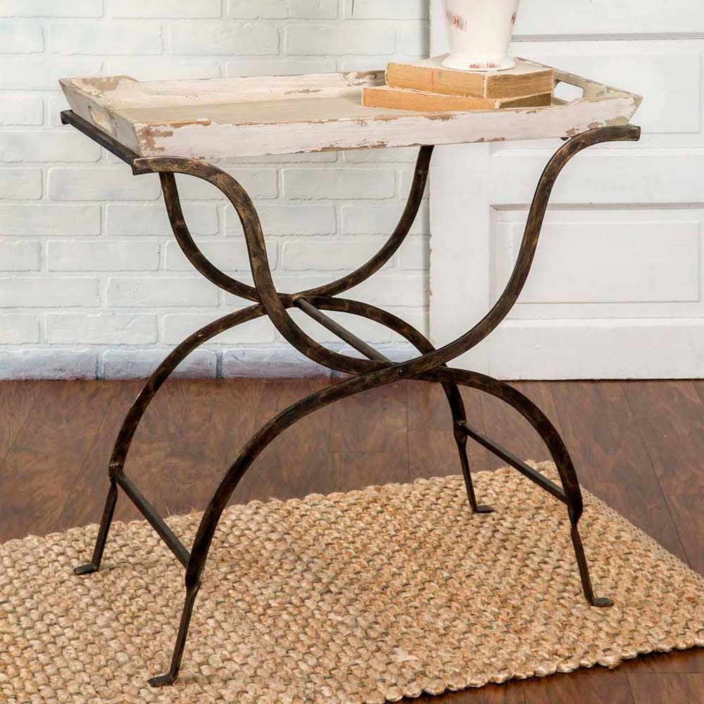 Rustic Iron and Whitewashed Wood Tray Table