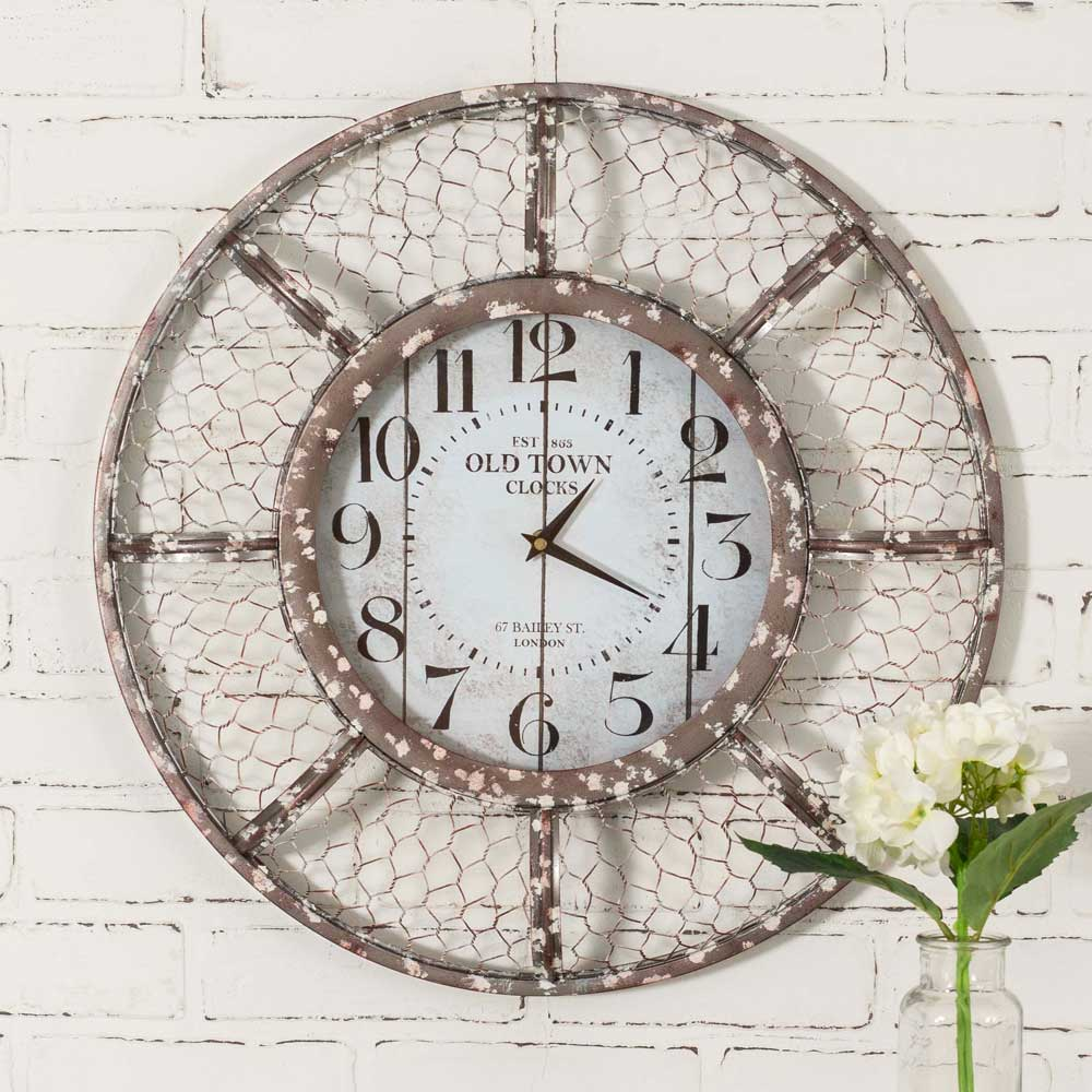 Rustic Farmhouse Whitewashed Chicken Wire Wall Clock