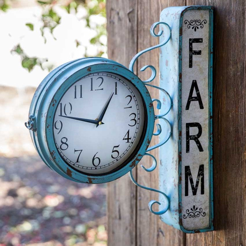 Weathered Blue Farm Station Clock
