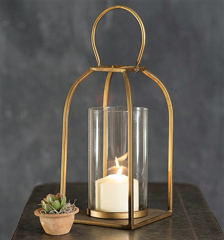 12 Inch Glass & Gold Finish TRIBECA Candle Lantern - TEMPORARILY OUT OF STOCK