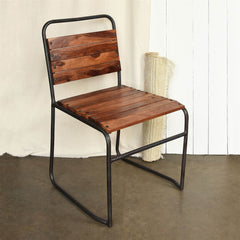 Artisan Hand Crafted AIDEN Wood and Iron Side Chair, SET OF TWO