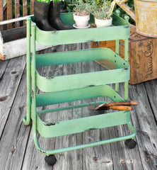 Vintage Inspired Green Iron and Metal 3-Tier Rolling Gardener's Cart