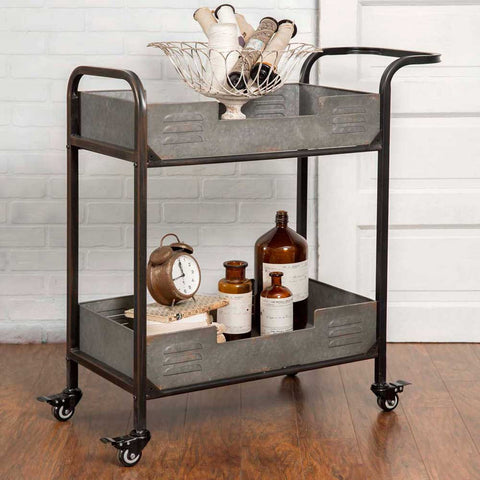 Industrial Loft Iron and Galvanized Metal 2-Tier Rolling Server Bar Cart