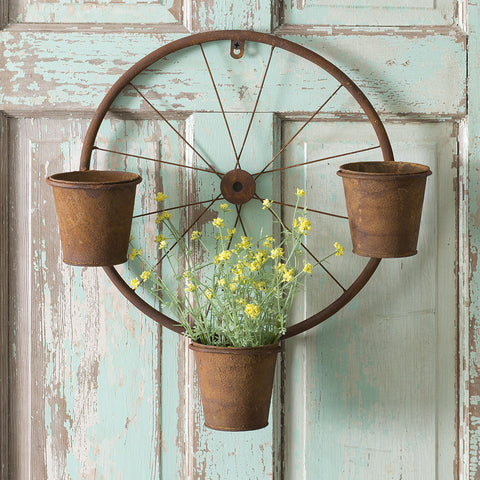 "Bicycle Wheel Wall Planter, Door Wreath with 4"" Plant Pots"