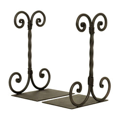 Handcrafted Wrought Iron Twisted Swirl Scroll Bookends, Set of 2