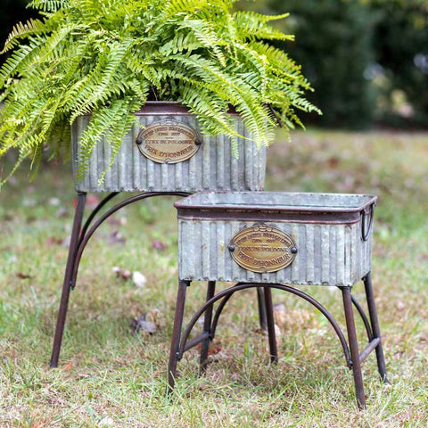 PRE-ORDER NOW! Galvanized & Iron French Planter Tubs