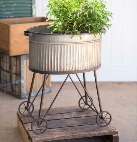 Rustic Farmhouse Galvanized Planter Tub on Rolling Stand