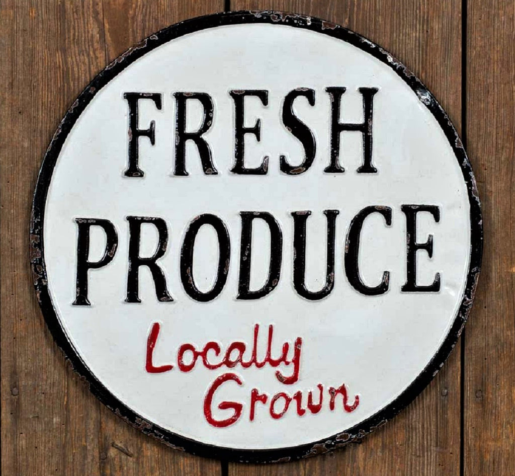 Round Metal Farmhouse Farmer's Market FRESH PRODUCE Sign