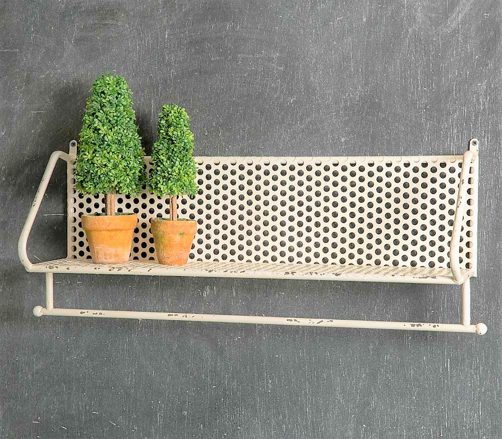 French White Industrial Farmhouse Perforated Metal Towel Bar Shelf