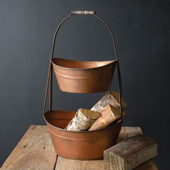 Large Copper Finish Two-Tier Bin Tote