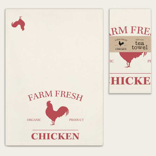Farm Fresh Chicken Feedsack 100% Cotton Kitchen Tea Towels, Set of Two