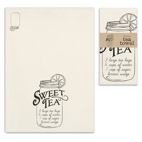 Sweet Tea Print Feedsack Cotton Kitchen Tea Towels, Set of Two