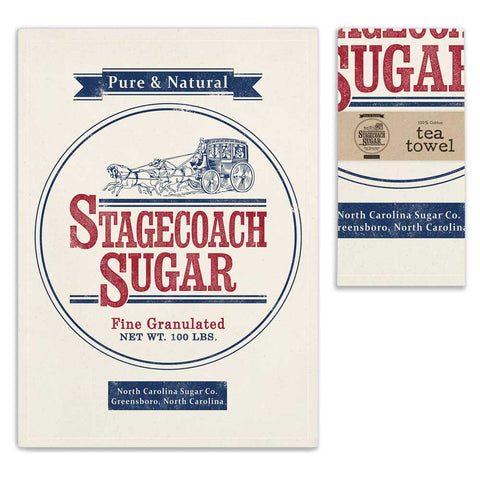 Stagecoach Sugar Printed Cotton Feedsack Kitchen Tea Towels, Set of Two