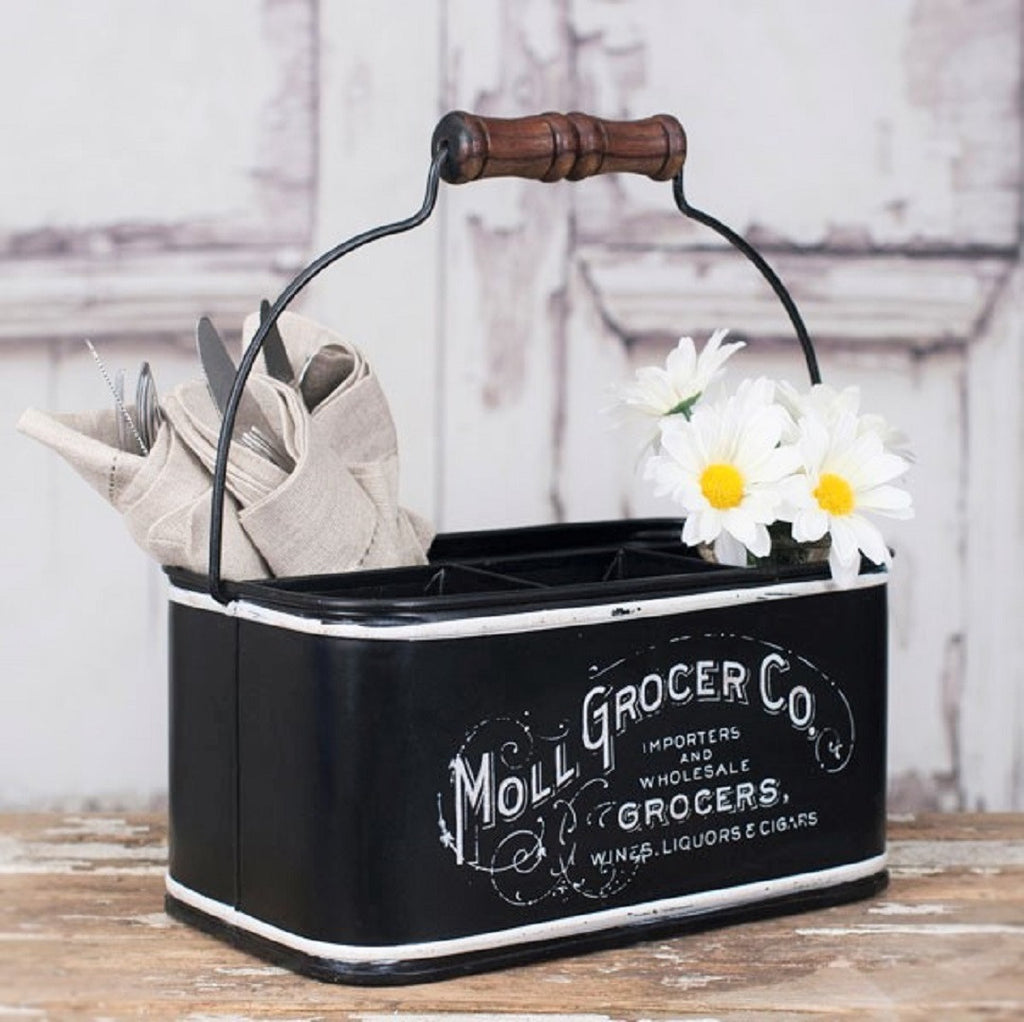 Rustic Industrial Vintage French Grocer Multi-section Black Metal Storage Caddy with Handle