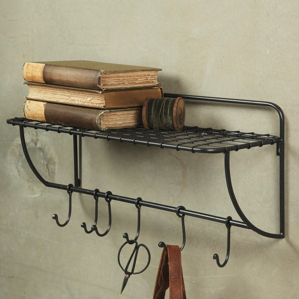 Vintage Inspired Train Pullman Metal Wall Shelf With Hooks