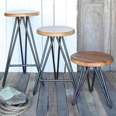 Artisan Hand Crafted Mid-Century Modern Hairpin Bar Height Stools, SET OF 2