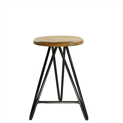 Artisan Hand Crafted Mid-Century Modern Hairpin Bar Height Stool, SET OF 2
