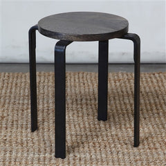 Mid-Century Artisan Crafted Forged Iron Dining Height Stool