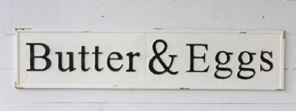 "Huge 57"" Vintage Inspired Embossed Metal BUTTER & EGGS Sign"