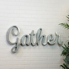 Large Rustic Industrial Farmhouse 3-D Galvanized Gather Sign Wall Sculpture