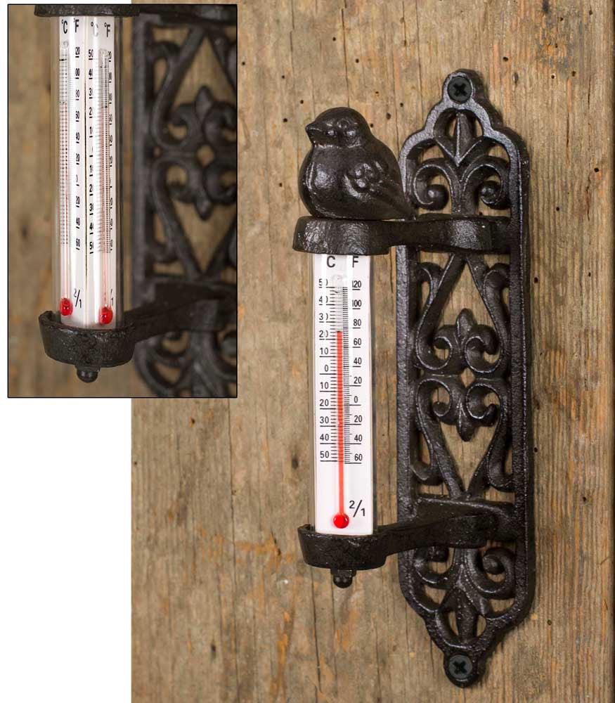 Cast Iron and Glass Song Bird 3 sided Thermometer