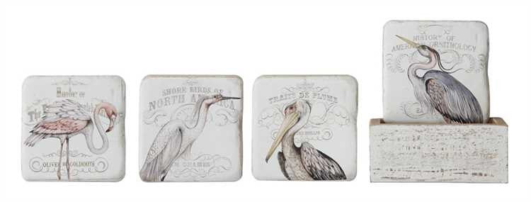 Water Birds Coaster Set with Box Holder