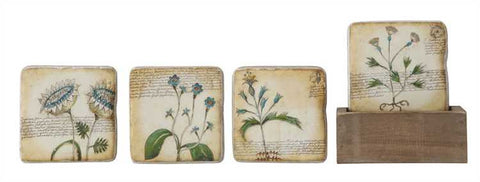 Botanical Coaster Set with Box Holder