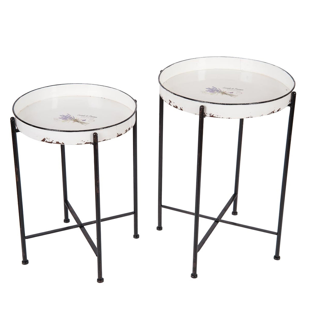 French Country Provence Lavender Enamel Round Tray Tables, Set Of 2